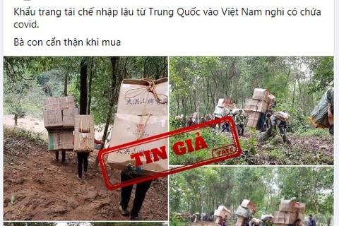 """""""Khẩu trang Trung Quốc chứa Covid-19 tuồn vào Việt Nam"""" là tin giả"""