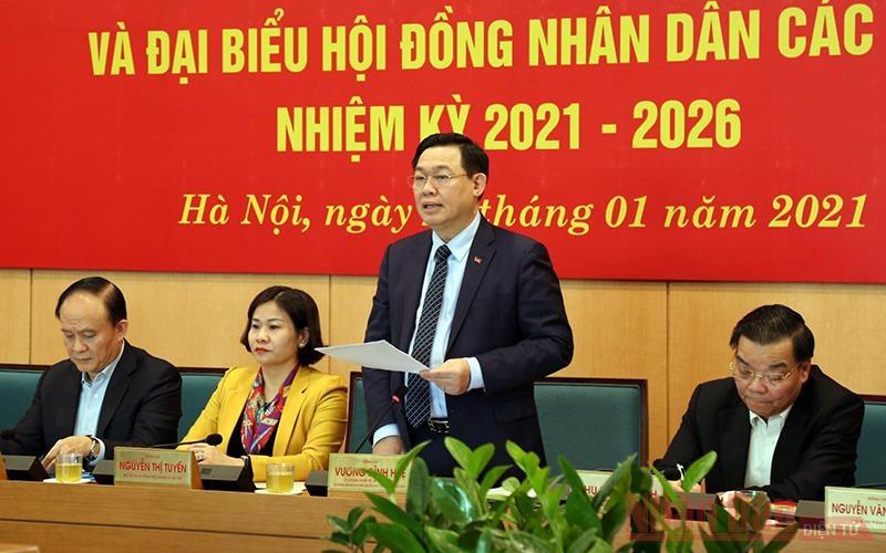 Bí thư Thành ủy Vương Đình Huệ phát biểu chỉ đạo tại hội nghị trực tuyến triển khai công tác bầu cử