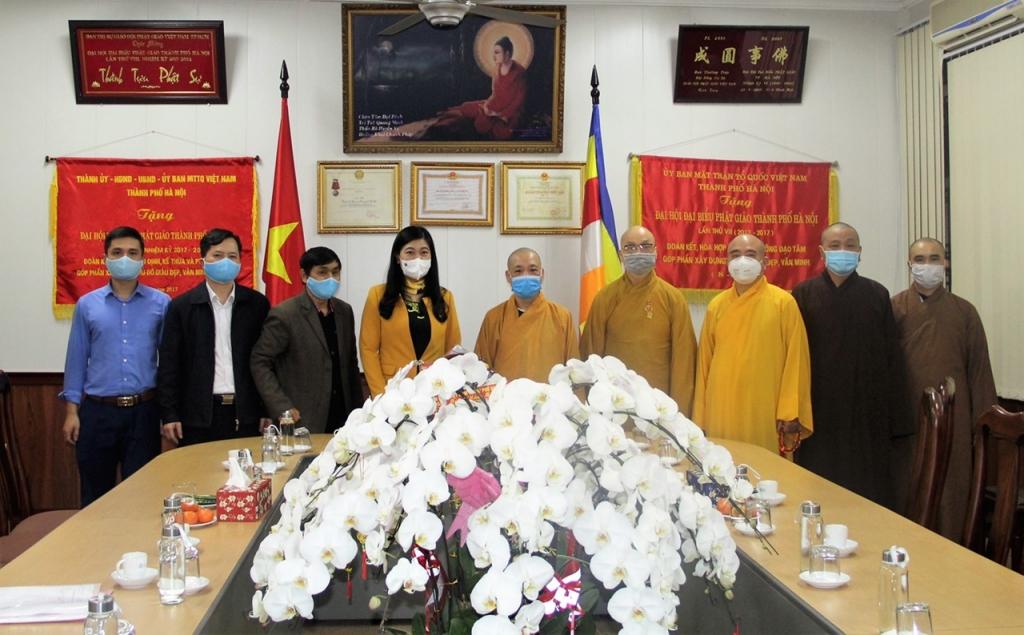 Chủ tịch Ủy ban MTTQ Việt Nam TP Hà Nội Nguyễn Lan Hương thăm, chúc Tết Giáo hội Phật giáo Việt Nam TP Hà Nội