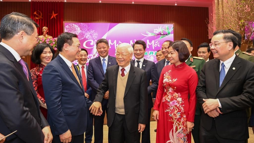 Tổng Bí thư, Chủ tịch nước Nguyễn Phú Trọng chúc Tết Đảng bộ, chính quyền và Nhân dân Thủ đô