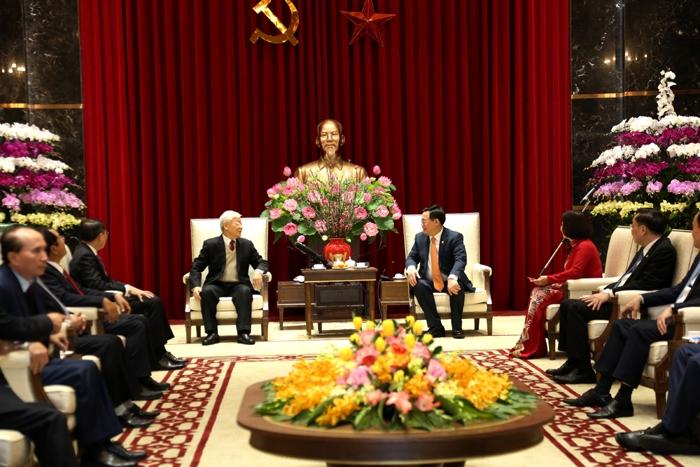 Tổng Bí thư, Chủ tịch nước Nguyễn Phú Trọng trò chuyện, chúc Tết Đảng bộ, Chính quyền và Nhân dân Thủ đô