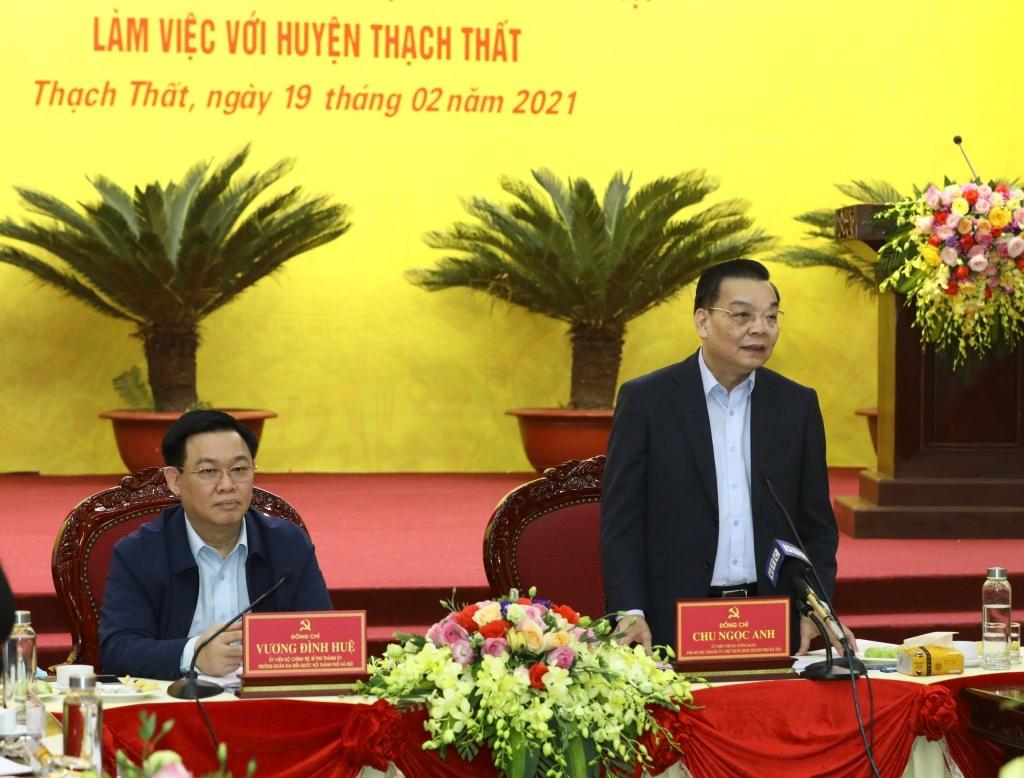 Chủ tịch UBND TP Chu Ngọc Anh phát biểu tại buổi làm việc