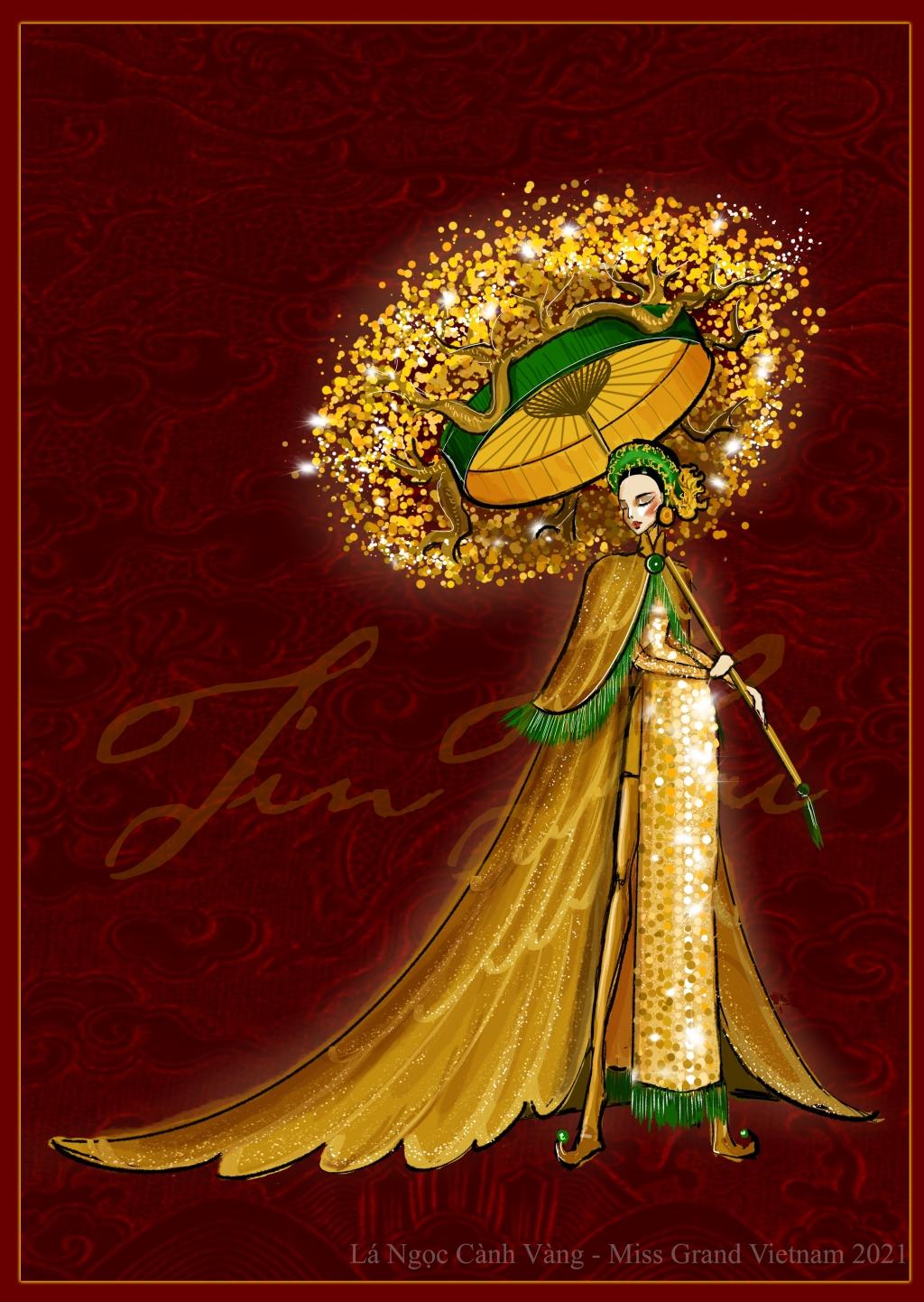 """Quốc phục của Á hậu Ngọc Thảo tại Miss Grand International 2020 sẽ mang tên """"Lá ngọc cành vàng"""""""
