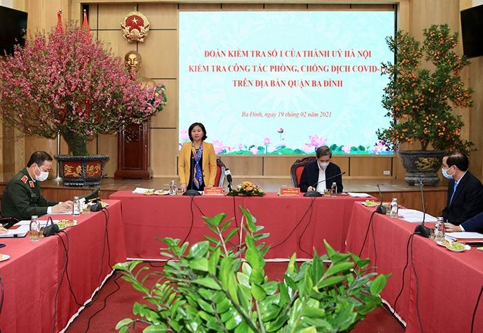 Phó Bí thư Thường trực Thành ủy Nguyễn Thị Tuyến phát biểu chỉ đạo tại buổi kiểm tra
