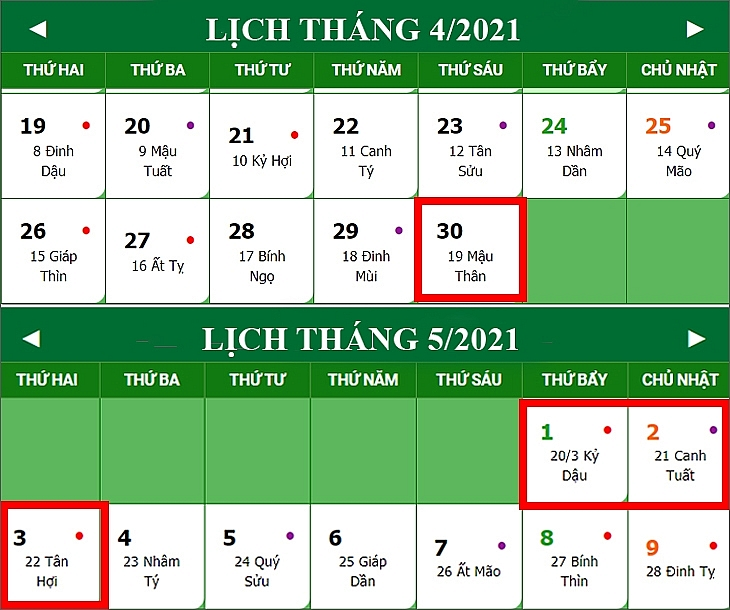 Lịch nghỉ lễ 30/4 - 1/5 năm 2021