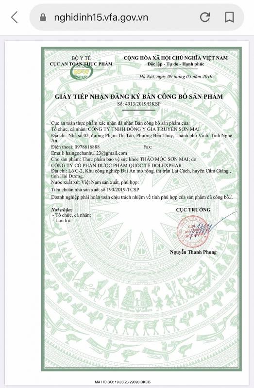 Thực phẩm bảo vệ sức khỏe Thảo mộc Sơn Mai được Cục An toàn thực phẩm (Bộ Y tế) cấp giấy tiếp nhận đăng ký bản công bố sản phẩm số 4913/2019/ĐKSP cấp ngày 09/05/2019.
