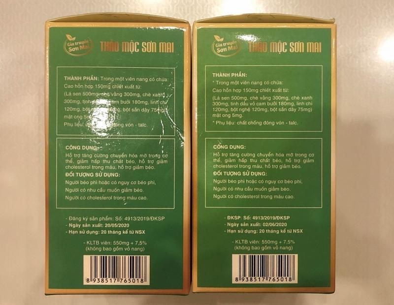 Kỳ lạ 2 sản phẩm Thảo mộc Sơn Mai chung một số công bố, chung mã vạch, chỉ khác nhau về số lượng viên trong mỗi hộp.