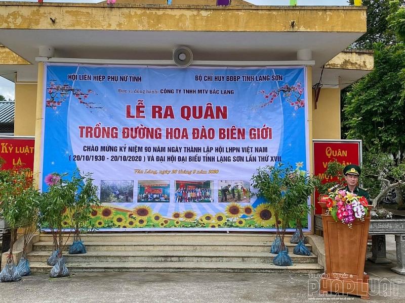Nguyễn Văn Hưng, Phó Chính ủy Bộ Chỉ huy Bộ đội Biên phòng tỉnh Lạng Sơn  phát biểu tại lễ ra quân trồng đường hoa Đào biên giới tại huyện biên giới Văn Lãng ngày 23/9/2020