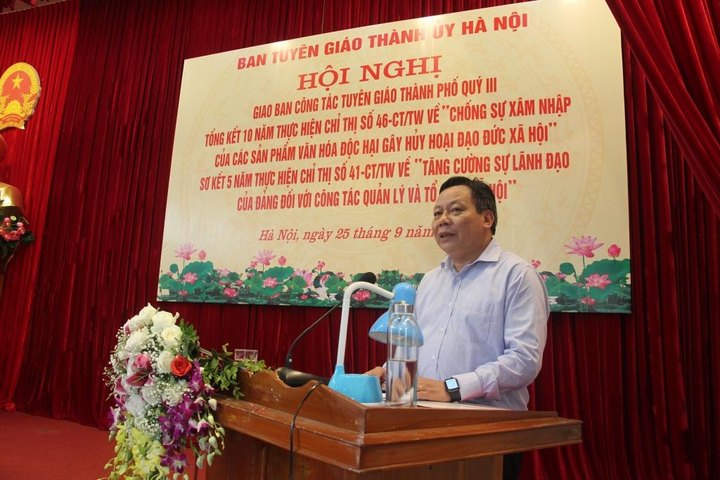 Đồng chí Nguyễn Văn Phong, Ủy viên Ban Thường vụ Thành ủy, Trưởng ban Tuyên giáo Thành ủy chủ trì hội nghị