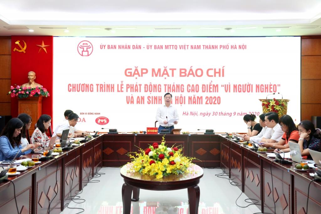 Phó Chủ tịch Ủy ban MTTQ Việt Nam TP Hà Nội Nguyễn Sỹ  Trường thông tin tại buổi họp báo