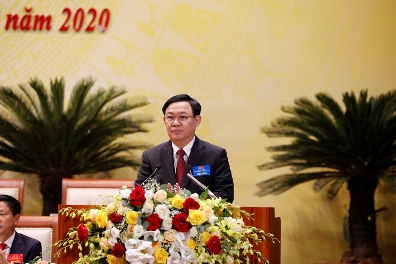 Bí thư Thành ủy Hà Nội Vương Đình Huệ Phát biểu hội nghị