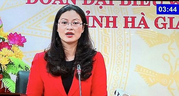 ĐB Vương Ngọc Hà (Hà Giang) phát biểu tại phiên họp