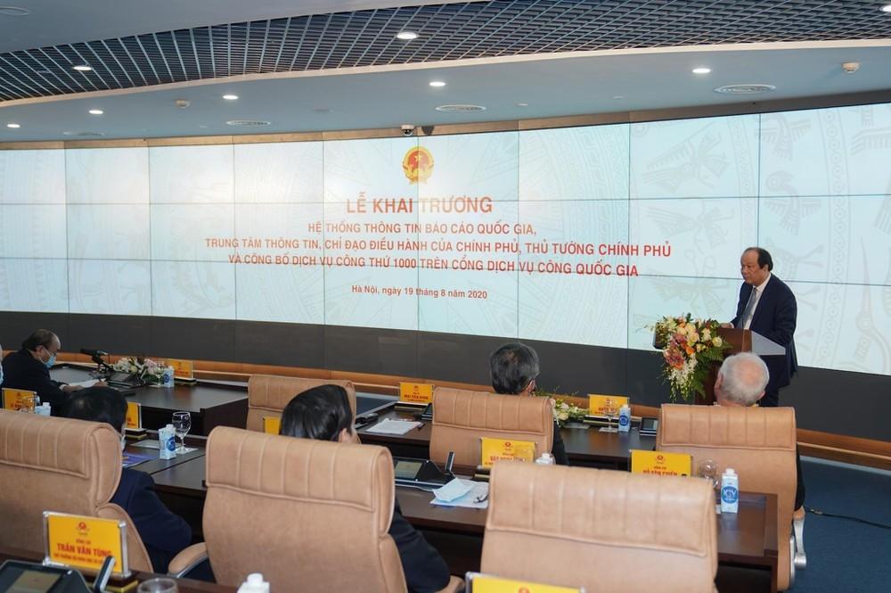 Bộ trưởng, Chủ nhiệm Văn phòng Chính phủ Mai Tiến Dũng phát biểu tại lễ khai trương Hệ thống thông tin báo cáo quốc gia; Trung tâm thông tin, chỉ đạo, điều hành của Chính phủ, Thủ tướng Chính và công bố dịch vụ công trực tuyến thứ 1.000 trên Cổng dịch vụ công quốc gia