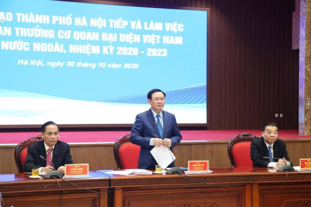 Bí thư Thành ủy Vương Đình Huệ phát biểu kết luận buổi làm việc