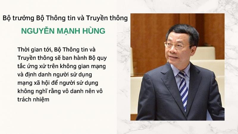 Bộ trưởng Nguyễn Mạnh Hùng: Sẽ có Bộ quy tắc ứng xử trên không gian mạng và định danh người sử dụng mạng xã hội