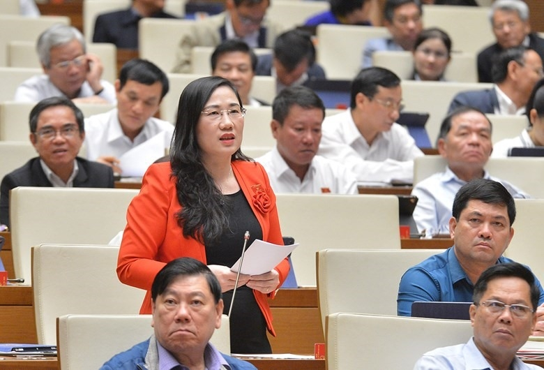 Đại biểu Nguyễn Thị Thủy (đoàn Bắc Kạn) phát biểu