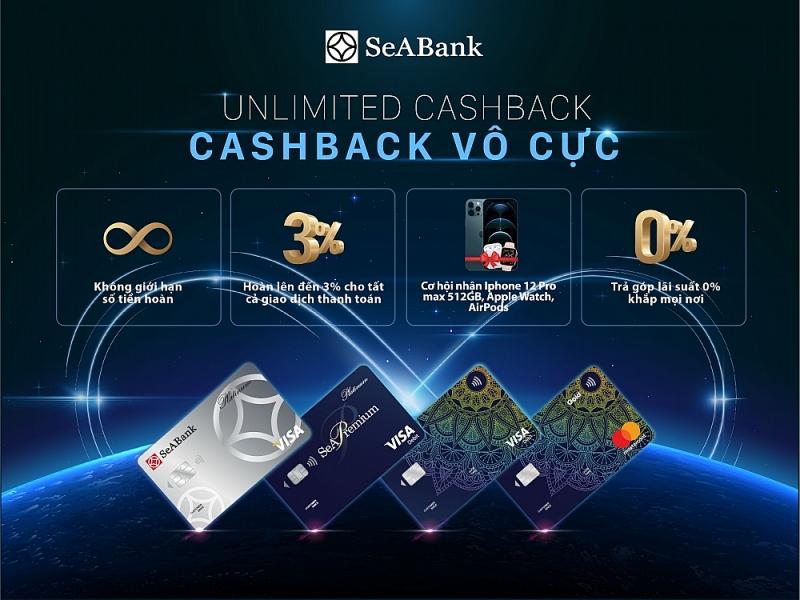 Hoàn tiền không giới hạn với thẻ quốc tế SeABank
