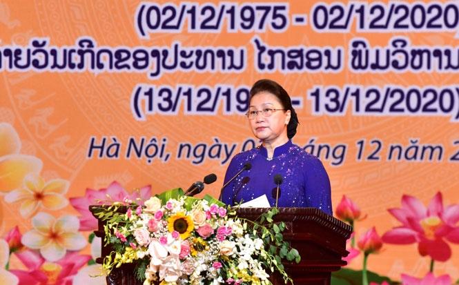 Chủ tịch Quốc hội Nguyễn Thị Kim Ngân đọc diễn văn tại lễ kỷ niệm.