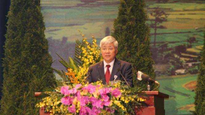 Ông Đỗ Văn Chiến, Ủy viên Trung ương Đảng, Bộ trưởng, Chủ nhiệm Ủy ban Dân tộc trình bày báo cáo chính trị tại Đại hội