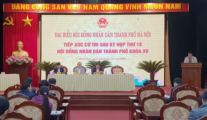 Chủ tịch HĐND thành phố Nguyễn Ngọc Tuấn tiếp xúc cử tri huyện Hoài Đức