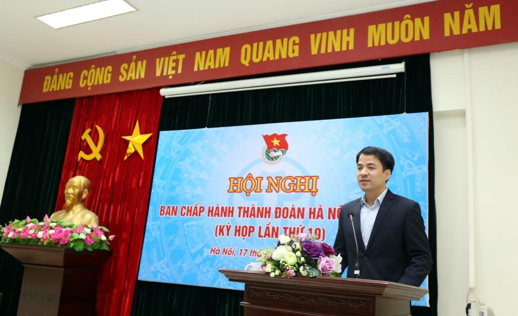 đồng chí: Ngô Văn Cương, Trưởng ban Tổ chức Trung ương Đoàn phát biểu tại hội nghị