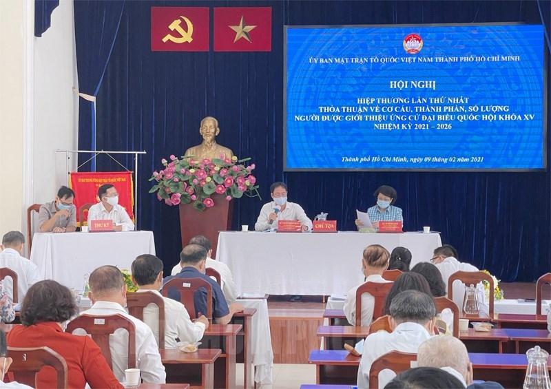 Quang cảnh buổi hiệp thương lần thứ nhất thỏa thuận về cơ cấu, thành phần, số lượng người được giới thiệu ứng cử đại biểu Quốc hội khóa XV nhiệm kỳ 2021 – 2026.