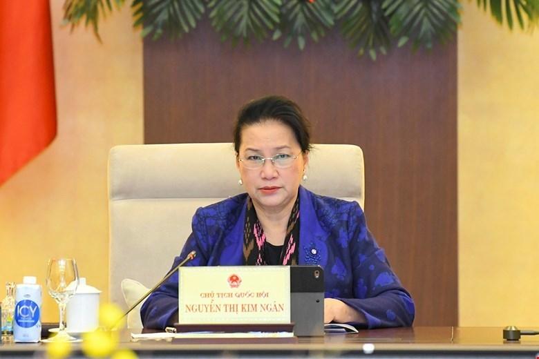 Chủ tịch Quốc hội Nguyễn Thị Kim Ngân phát biểu tại phiên họp 53 Ủy ban Thường vụ Quốc hội