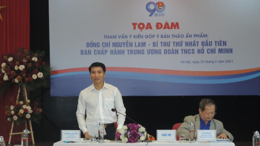 Bí thư Trung ương Đoàn, Chủ tịch Hội đồng Đội Trung ương Nguyễn Ngọc Lương phát biểu tại tọa đàm