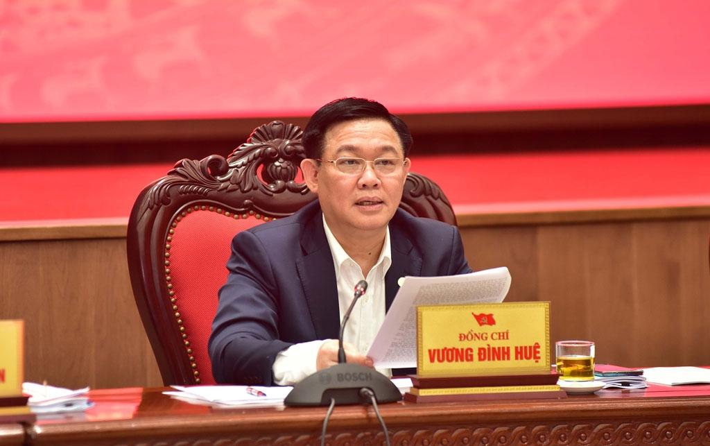 Bí thư Thành ủy Vương Đình Huệ phát biểu tại hội nghị