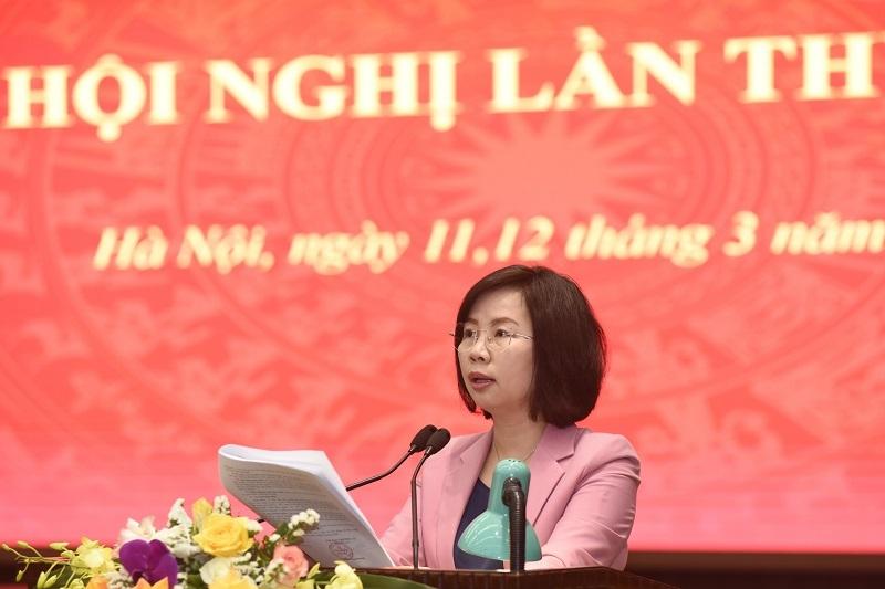 Trưởng ban Tuyên giáo Thành ủy Bùi Huyền Mai trình bày Dự thảo Chương trình 06-CTr/TU tại hội nghị