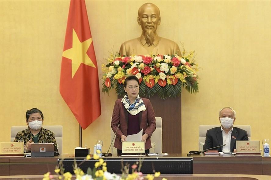 Chủ tịch Quốc hội Nguyễn Thị Kim Ngân phát biểu tại Phiên họp thứ 53 của Uỷ ban Thường vụ Quốc hội. Ảnh: QH.