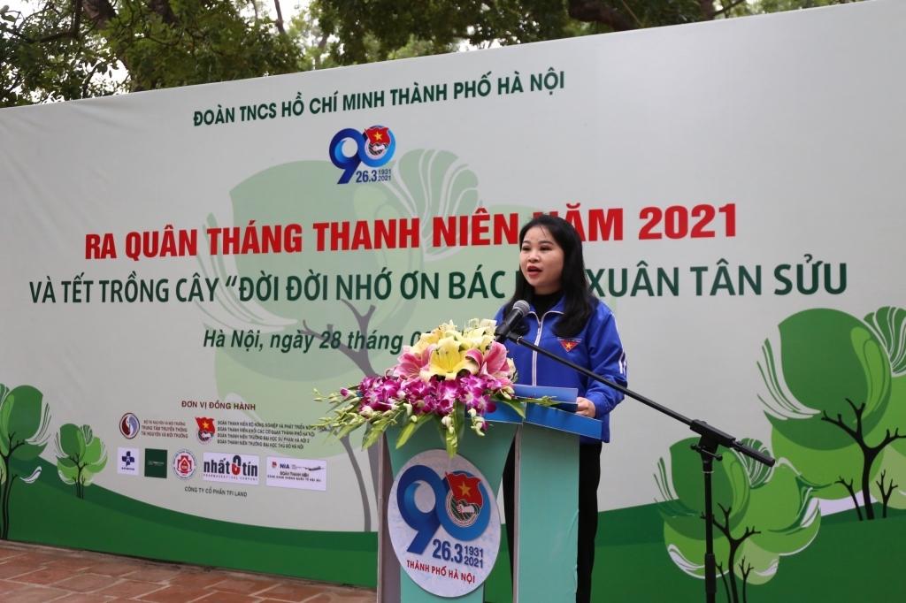 Đồng chí Chu Hồng Minh, Ủy viên Ban Thường vụ Trung ương Đoàn, Thành ủy viên, Bí thư Thành đoàn Hà Nội phát động ra quân Tháng Thanh niên 2021