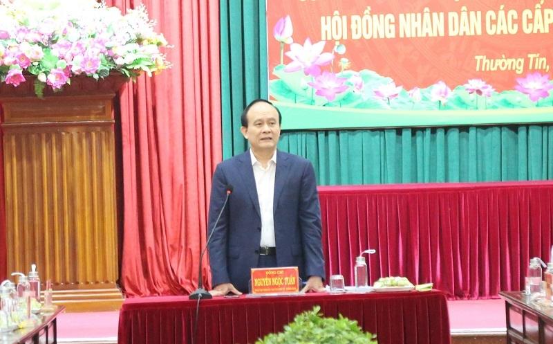 Chủ tịch HĐND TP Hà Nội Nguyễn Ngọc Tuấn phát biểu chỉ đạo buổi làm việc