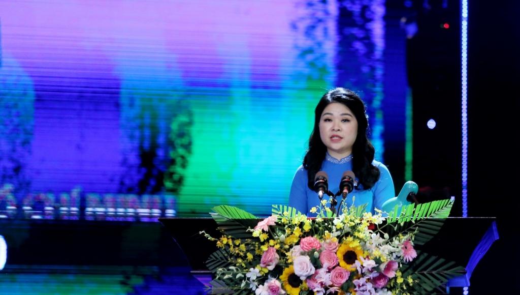 Đồng chí Chu Hồng Minh, Ủy viên Ban Thường vụ Trung ương Đoàn, Thành ủy viên, Bí thư Thành đoàn Hà Nội phát biểu tại chương trình