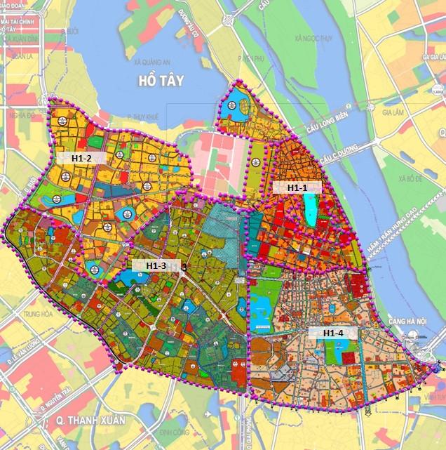 Bản đồ Quy hoạch phân khu 4 quận nội đô lịch sử.