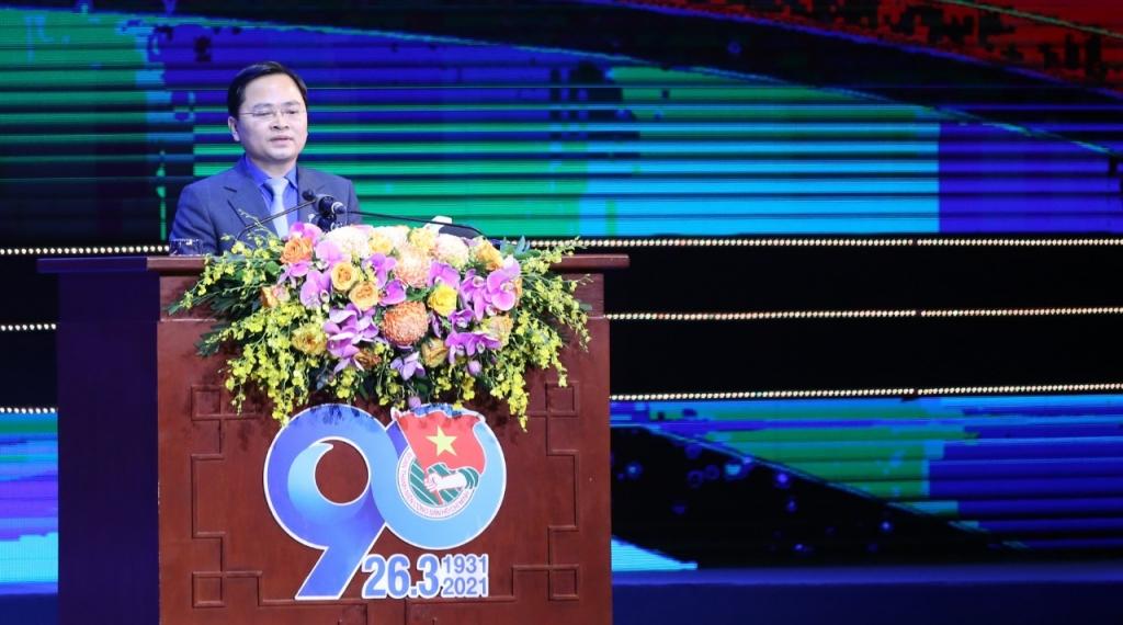 Bí thư thứ nhất Trung ương Đoàn TNCS Hồ Chí Minh Nguyễn Anh Tuấn đọc diễn văn tại hội nghị
