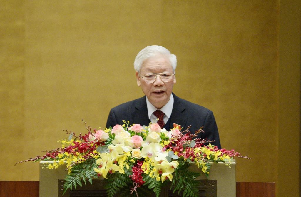 Tổng Bí thư, Chủ tịch nước Nguyễn Phú Trọng trình bày Báo cáo công tác của Chủ tịch nước nhiệm kỳ 2016-2021