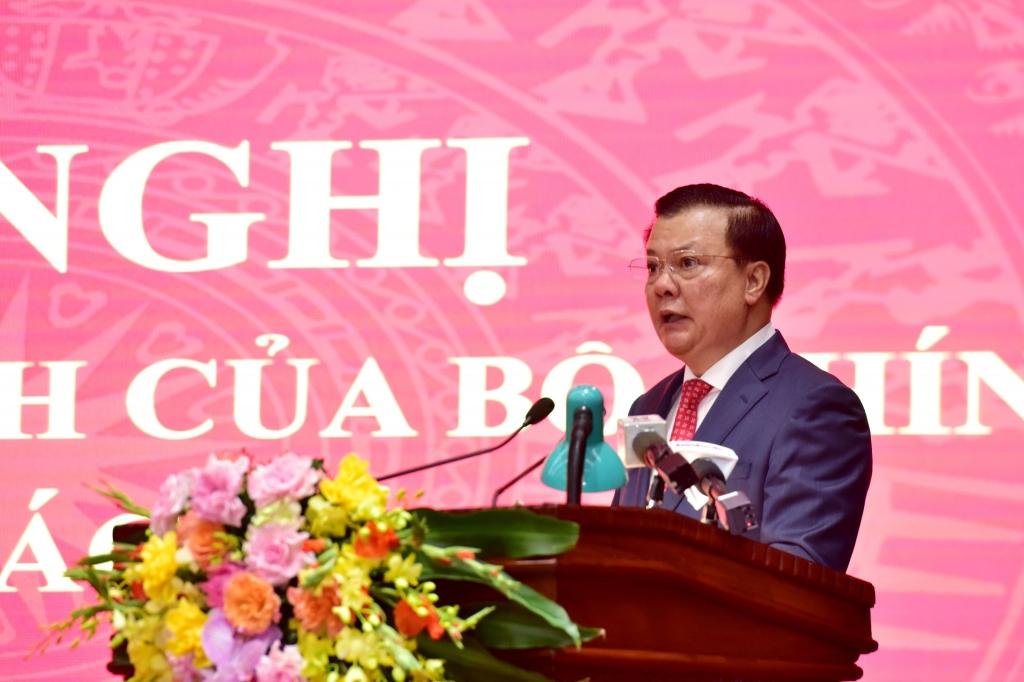 Tân Bí thư Thành ủy Hà Nội Đinh Tiến Dũng phát biểu nhận nhiệm vụ