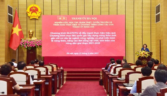Phó Bí thư Thường trực Thành ủy Nguyễn Thị Tuyến quán triệt nội dung các Chương trình công tác của Thành ủy