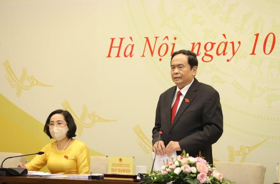 Phó Chủ tịch Quốc hội Trần Thanh Mẫn phát biểu tại buổi họp báo