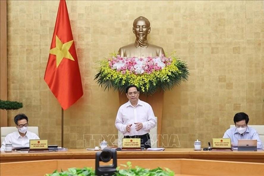 Thủ tướng Chính phủ Phạm Minh Chính chủ trì phiên họp Chính phủ thường kỳ tháng 6. Ảnh: Dương Giang/TTXVN