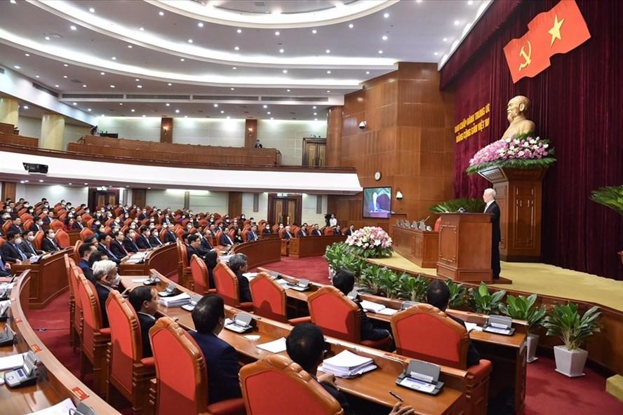 Tổng Bí thư Nguyễn Phú Trọng phát biểu bế mạc Hội nghị lần thứ 3 Ban Chấp hành Trung ương khoá XIII. Ảnh Nhật Bắc