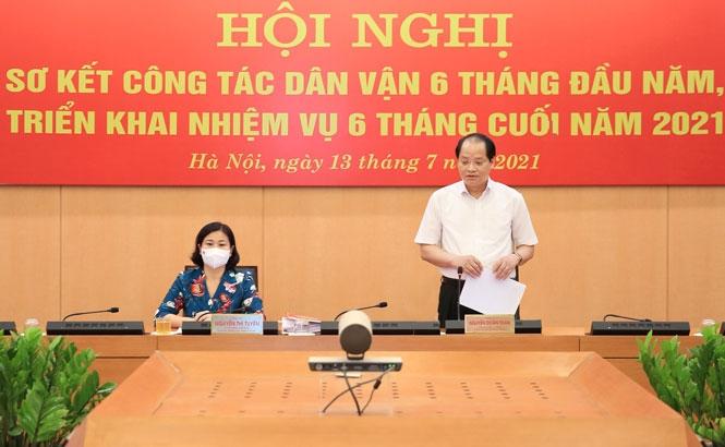 Trưởng ban Dân vận Thành ủy Hà Nội Nguyễn Doãn Toản phát biểu tại hội nghị