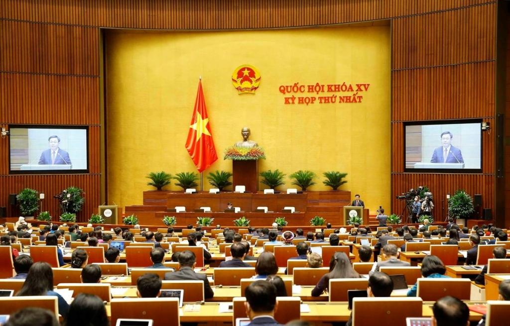 Chủ tịch Quốc hội khóa XIV Vương Đình Huệ phát biểu khai mạc. (Ảnh: TTXVN)
