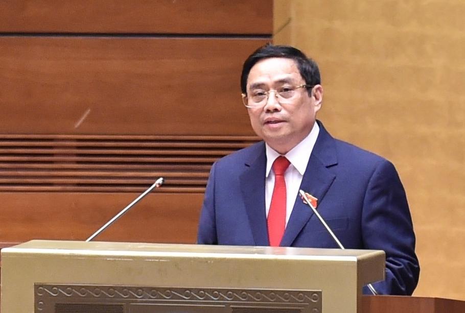 Thủ tướng Phạm Minh Chính phát biểu sau khi tuyên thệ nhậm chức  - Ảnh: VGP/Nhật Bắc