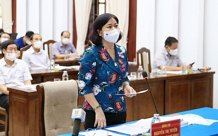 Phó Bí thư Thường trực Thành ủy Hà Nội Nguyễn Thị Tuyến phát biểu tại cuộc họp trực tuyến về công tác phòng, chống dịch Covid-19 của huyện Thanh Trì.
