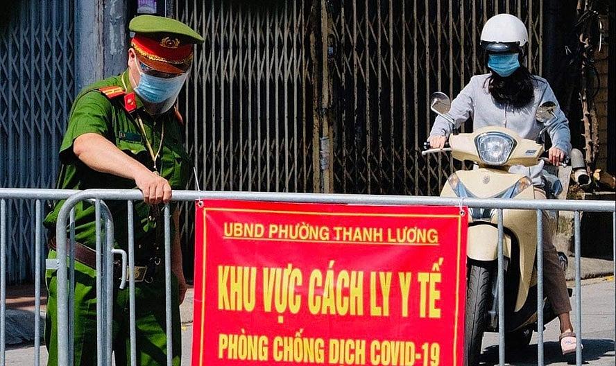 UBND phường Thanh Lương (quận Hai Bà Trưng) thiết lập khu vực cách ly y tế.