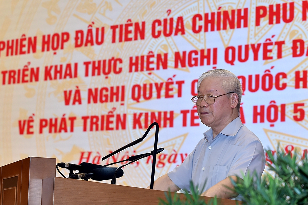 ổng Bí thư Nguyễn Phú Trọng dành một lượng lớn thời gian phát biểu để phân tích, làm rõ 4 vấn đề lớn về kinh tế, xã hội, quốc phòng, an ninh, xây dựng bộ máy. Ảnh: VGP/Nhật Bắc
