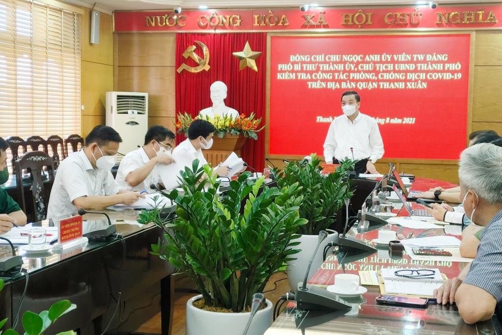 Chủ tịch UBND TP Hà Nội Chu Ngọc Anh phát biểu tại buổi kiểm tra