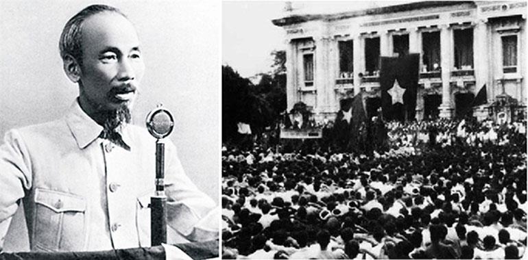 Chủ tịch Hồ Chí Minh đọc Tuyên ngôn Độc lập tại Quảng trường Ba Đình vào ngày 2/9/1945. Ảnh: tư liệu